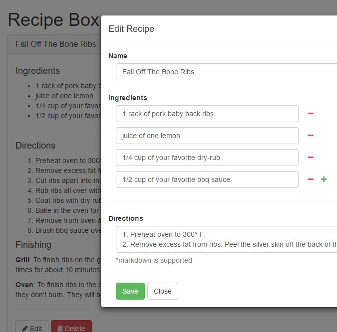 Free Code Camp - Recipe Box